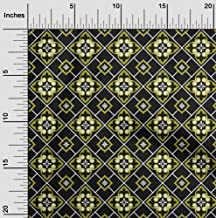oneOone Velvet Black Fabric Floral & Tiles Moroccan Dress Material Fabric Print Fabric by The Yard 58 Inch Wide