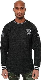 Ultra Game Men's NBA Fleece Sweatshirt Long Sleeve Shirt Rib Stripe, Oakland Raiders, Onyx Marl, Small