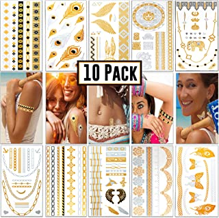 Boho Gold Temporary Tattoos - Metallic Gold Henna Tattoo Kit | 10 sheets & 100+ designs | Boho Glitter Accessories Stickers | Fits Men, Women & Kids | For Face, Body, Music Festival Clothing, Costumes