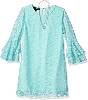 Amy Byer Girls' Big Bell Sleeve A-line Lace Dress,
