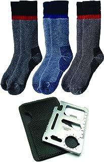Thermal Merino Wool Winter Socks & Survival Tool   Men & Women 3 Pack