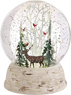 Raz Imports Deer and Cardinals in Winter Forest LED Lit Snow Globe Water Dome 6
