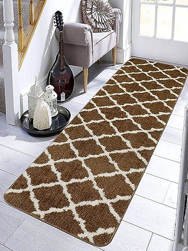Saral Home Anti-Slip Bedside/Kitchen Runner (Brown, Microfiber, 45x180 cm)