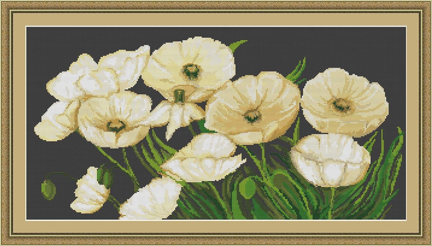 Lucas-S LG274 Tapestry Kit/Motif White Poppies / 16 x 31.5 cm