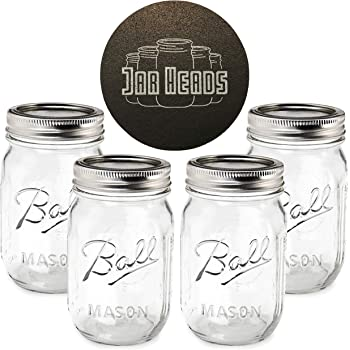 Ball Mason Jars 16 oz Bundle with Non Slip Jar Opener- Set of 4 16 Ounce Size Mason Jars with Regular Mouth - Canning Glass Jars with Lids, Heritage Collection