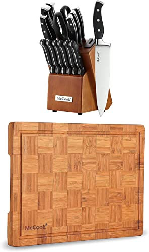"""high quality McCook MC23A German Stainless Steel 2021 Knife Block Sets with Built-in Sharpener + MCW12 Bamboo Cutting wholesale Board (Large, 17""""x12""""x1"""") online sale"""