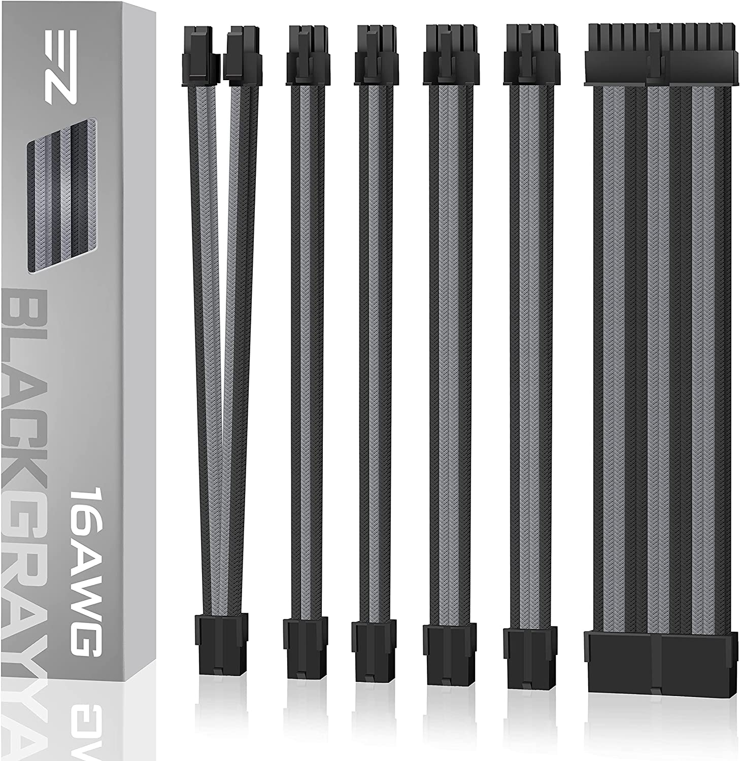 EZDIY-FAB PSU Cable Extension kit Sleeved Cable Custom Power Supply Sleeved Extension 16 AWG 24-PIN 8-PIN 6-PIN 4+4-PIN with Combs- Black/Grey
