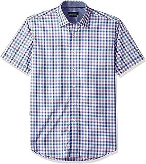 Bugatchi Men's Cotton Print Slim Fit Short Sleeve Point Collar Shirt