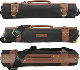 "Chef knife roll bag large | stores 10 knives, 3 kitchen utensils Plus leather zipper pouch size open: 28"" x 20"" 