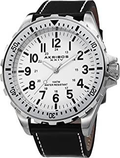 Men's 'Essential' Swiss Quartz Watch - Large, Easy to Read Arabic Numerals On Genuine Leather Strap - AK690