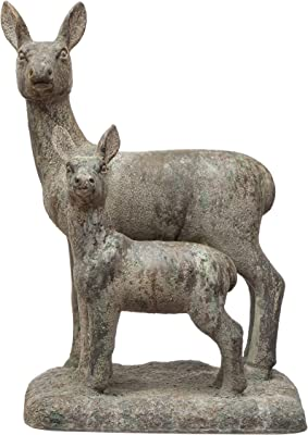 """Creative Co-Op 11-1/4""""L x 8"""" W x 15"""" H Resin Vintage Reproduction Deer Statue, Cement Finish Figures and Figurines, Multi"""