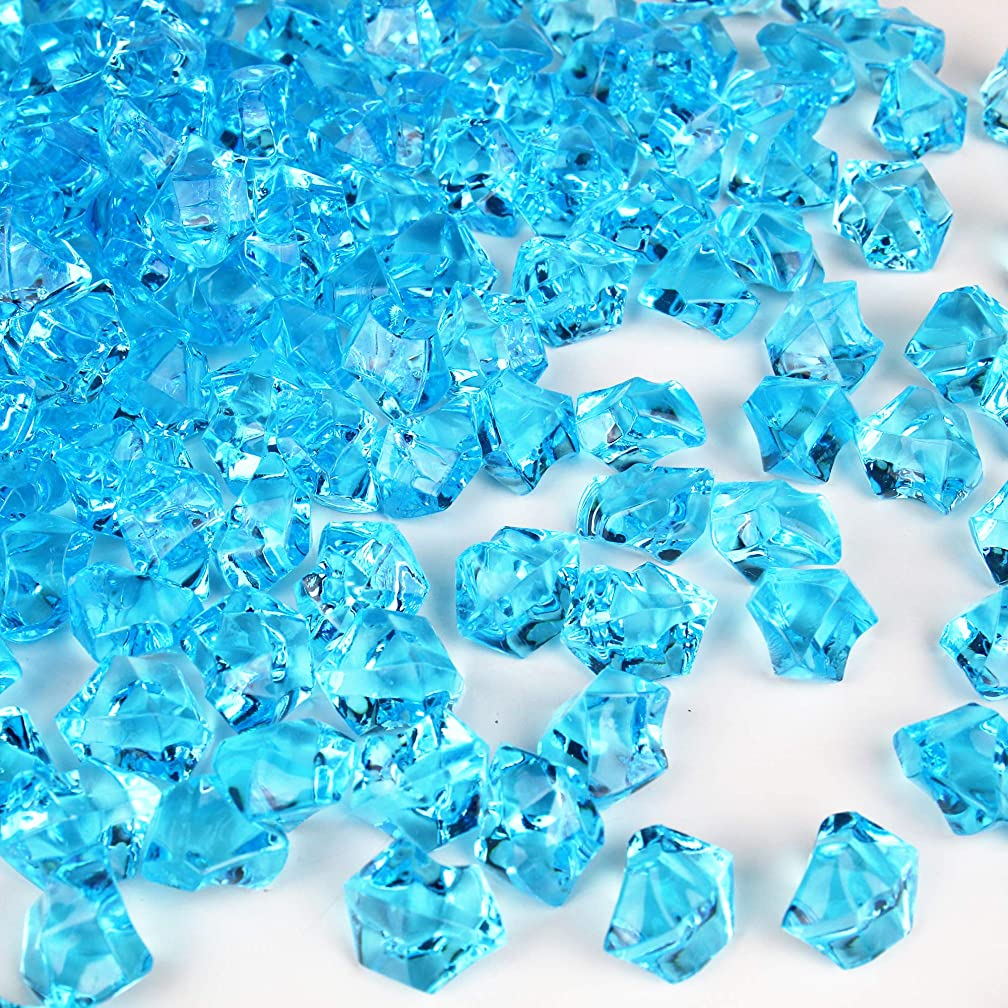 CYS EXCEL Acrylic Ice Rocks for Vase Fillers, Acrylic Gems for Table Scatters, Event, Wedding, Birthday Decoration (Acrylic Ice Light Blue, 1 Pound)