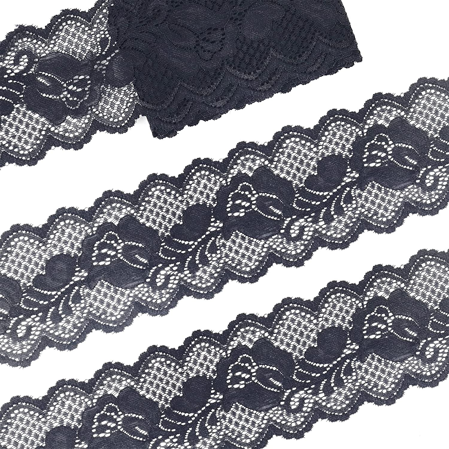 Elastic Lace Ribbon Stretch Las Vegas Mall Fabric White The Ranking TOP1 Yard by Flora