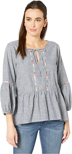 Embroidered Peasant Blouse in Ticking Stripe