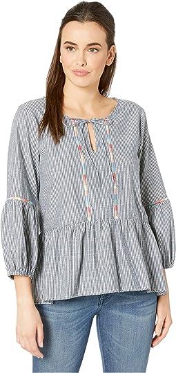 2737a3efe0 Ivanka trump woven stripe tie sleeve blouse