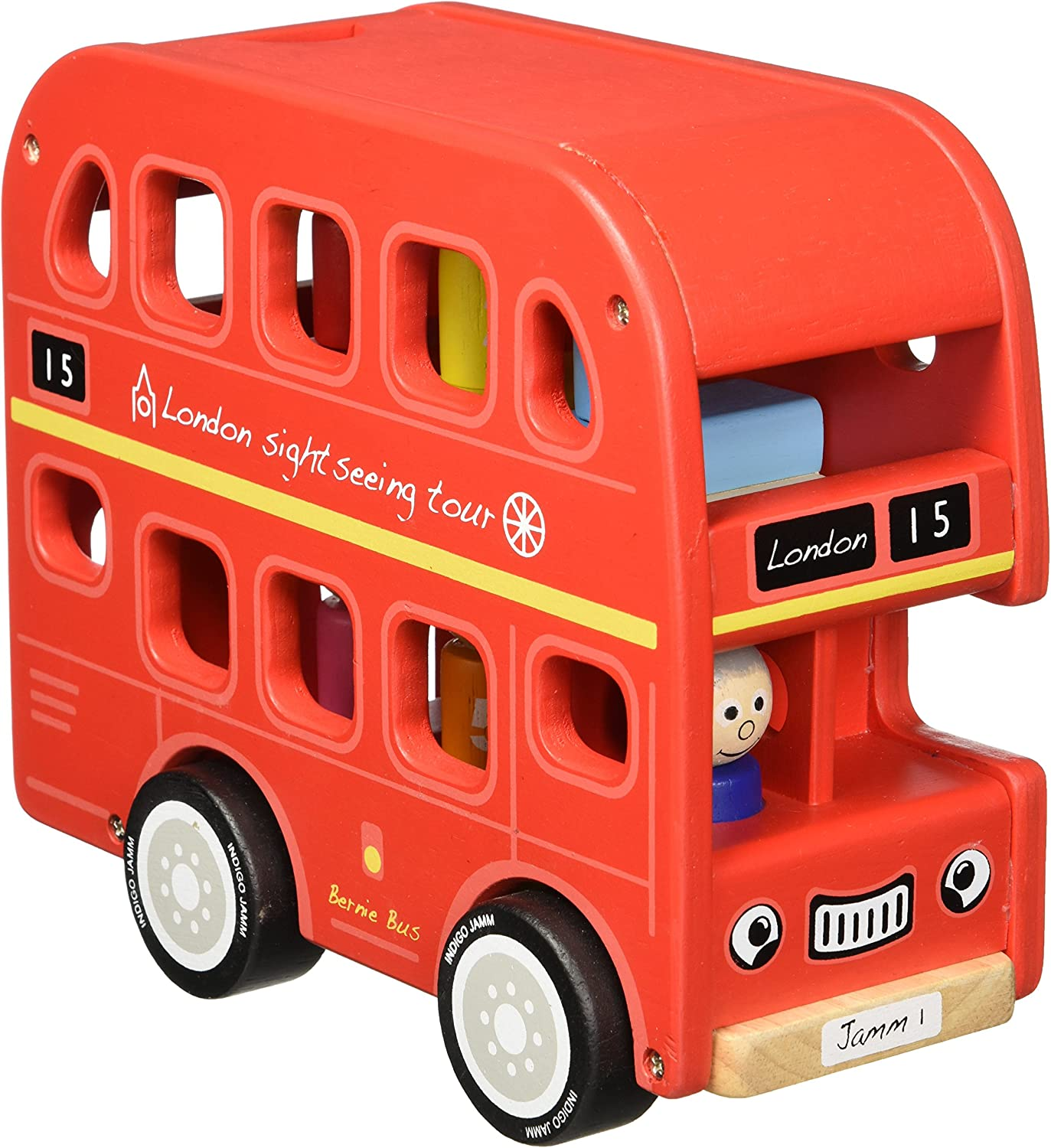 Indigo Jamm Bernie's Number Bus, Wooden Toy Iconic London Bus Vehicle with Removable Roof and Passengers