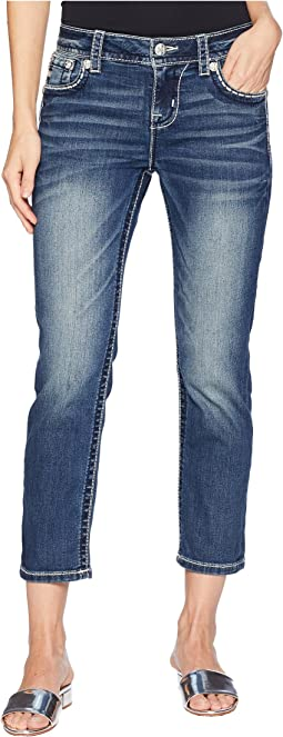 Mid-Rise Capri Jeans in Medium Blue