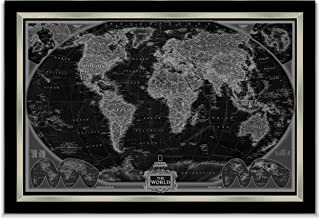 World Travel Map Wall Art Collection Executive National Geographic World Travel Map Fine Giclee Prints Framed Wall Art with Push Pin, Ready to Hang, 24X36, Black & Grey with Black/Silver