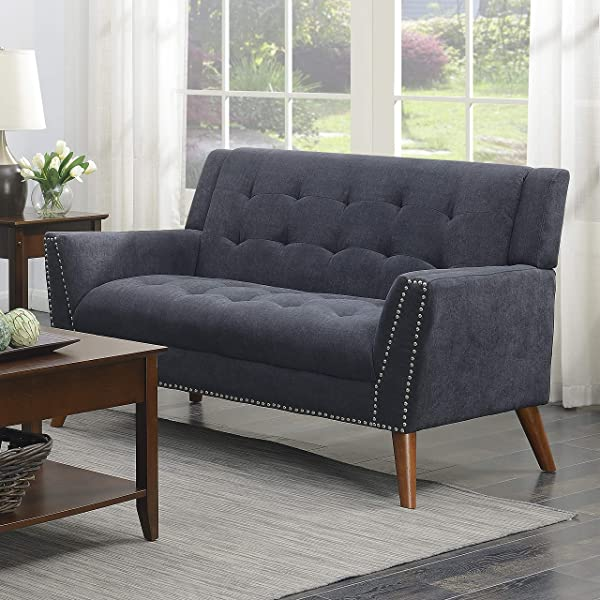Christies Home Living Kendall Colletion Tufted Loveseat Upholstered Mid Century Grey