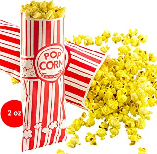 Popcorn Bags 100 Pack. Coated for Leak/Tear Resistance. Single Serving 2oz Paper Sleeves in Nostalgic Red/White Design. Great Movie Theme Party Supplies or Old Fashioned Carnivals & Fundraisers!