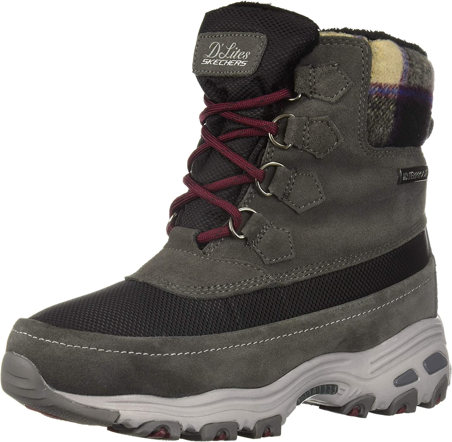 Skechers Womens D'Lites - Mid Hiker Lace Up Boot W Plaid Collar Snow Boot