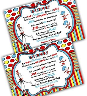 dr seuss 1st birthday personalized invitations