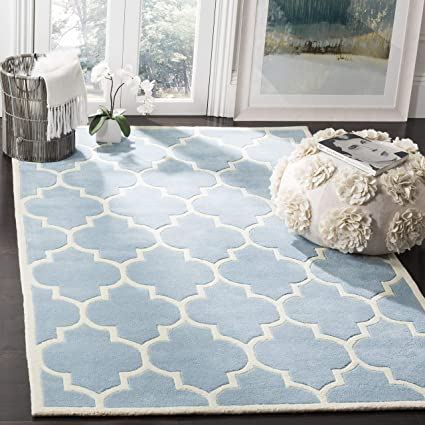 Safavieh Morton Area Rug Hand Tufted Wool Carpet In Blue Ivory 182 X 274 Cm Amazon Co Uk Kitchen Home