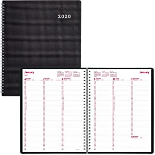 Brownline DuraFlex 2020 Weekly Appointment Book, Poly Cover, Twin-Wire, Black, 11 x 8.5 Inches (CB950V.BLK-20)