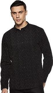People Men's Printed Slim Fit Casual Shirt