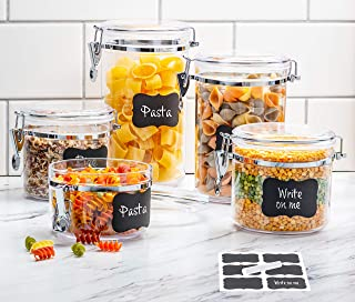 Beautiful 5-Piece Airtight Acrylic Canister Set For Kitchen Counter, Food Storage Container For Pantry, Tea, Sugar, Coffee, Candy, Flour Canisters With Locking Clamp Lids And Chalkboard Labels+Chalk.