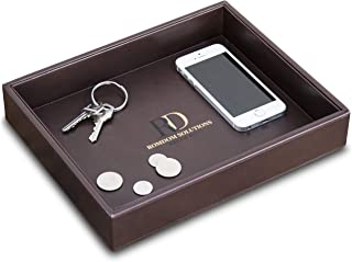 RomDom Leather Valet Tray, Decorative Tray, Catch All EDC Tray-Phone, Wallet, Keys, Accessories Nightstand Organizer, Dres...