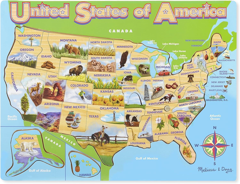 Melissa & Doug USA Map Wooden Jigsaw Puzzle (45 pcs)
