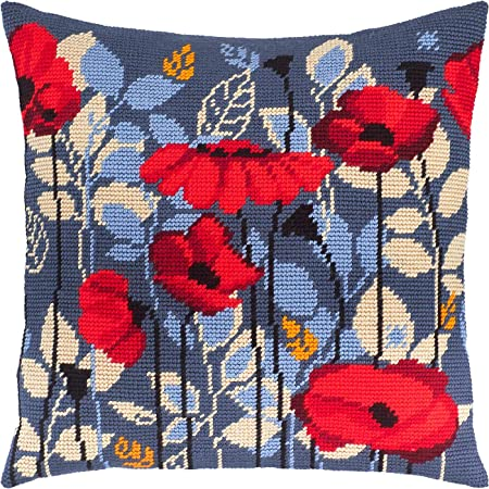 Needlepoint Kit Bouquet of Poppies Throw Pillow 16/×16 Inches Printed Tapestry Canvas European Quality