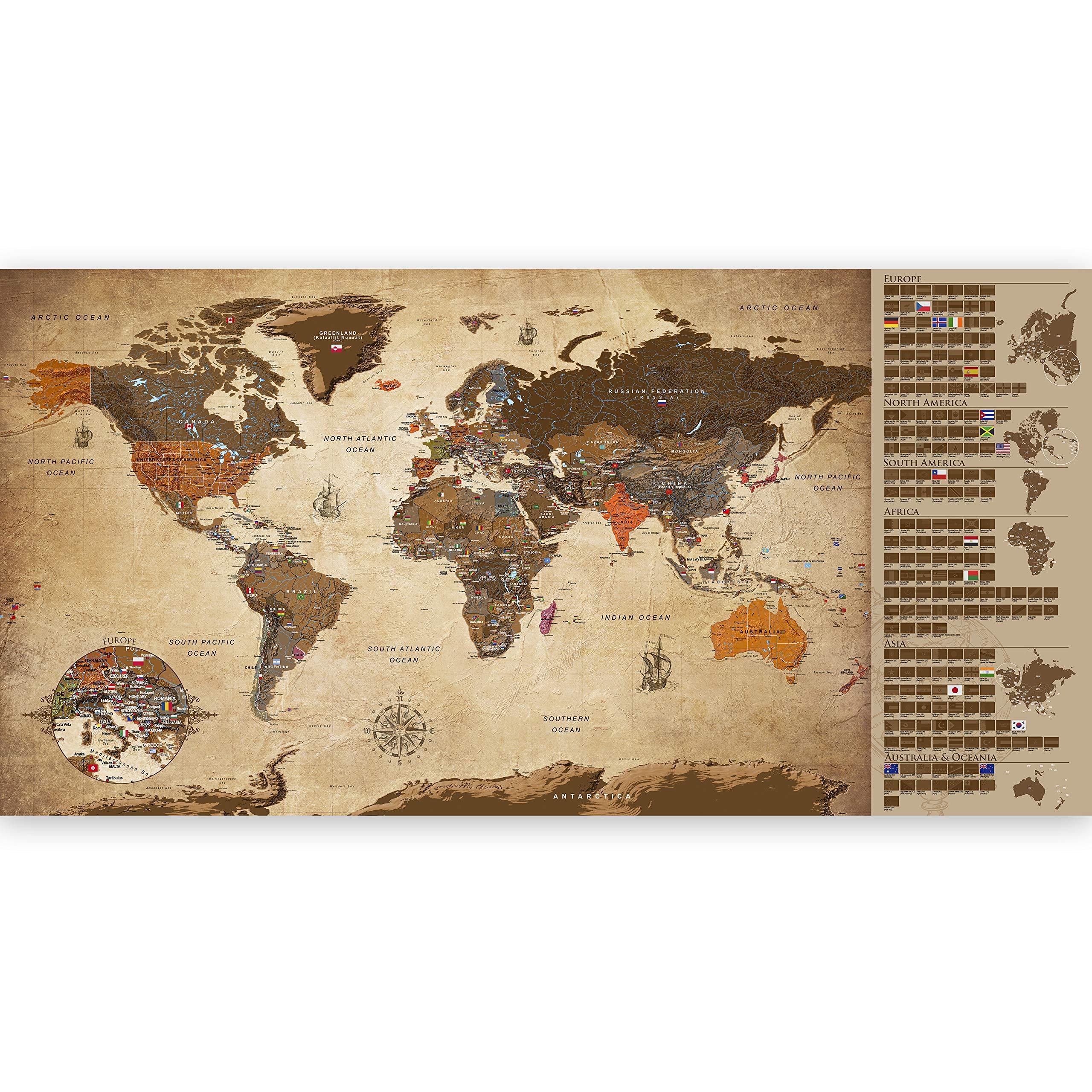murando - Mapamundi para rascar - Mapa Mundial - 100x50 cm - Vintage - Laminado (Posibilidad de Escribir y borrar) - Mapa para rascar con Banderas - Macionales - k-A-0228-o-b: Amazon.es: Juguetes y juegos