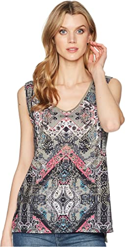 Printed Woven Sleeveless V-Neck Top