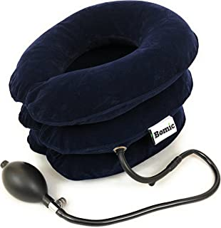 Bomic Cervical Neck Traction Device Inflatable Pillow Instant Relief - FDA Approved - Effective Neck Pain Remedy - Relief for Chronic Neck & Shoulder Pain - Spine Alignment - Adjustable Neck Collar