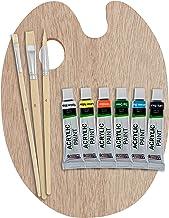U.S. Art Supply Artist Wood Painting Palette with 6-Piece Acrylic Paint Tube Set & 3-Piece Brush Set