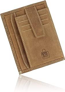 Le Craf Genuine Leather Brown RFID Blocking Credit Card Wallet Case-(Size 12.5 x 9.5 x 1 cm)