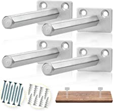 BATODA Floating Shelf Bracket (4 pcs Galvanized Steel) - Blind Shelf Supports - Hidden Brackets for Floating Wood Shelves - Concealed Blind shelf Support – Screws and Wall plugs Included