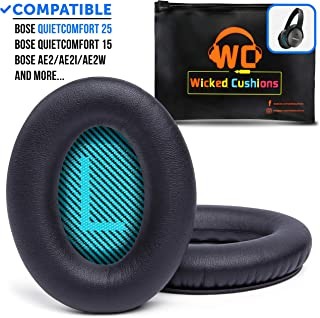 Premium Bose QC25 Replacement Ear Pads by Wicked Cushions - Memory Foam Pads Adapt to Your Ears | Extra Durability with Stitched Seams | Also Fits QuietComfort 15 / QC15 / Ae2 & SoundLink Over-Ear