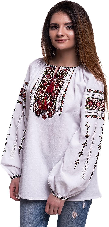 Handmade Ukrainian Embroidered Folk Blouse Natural Cotton Traditional Ethnic Style White