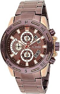 ساعة انالوج كلاسيكية بمينا بنية وسوار ستانلس ستيل للرجال من نافي فورس - NF9165-RGCE