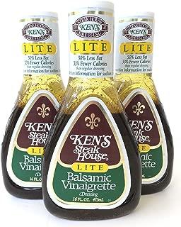 Kens Steak House Lite Balsamic Vinaigrette Dressing, 16 Ounce (Pack of 3)