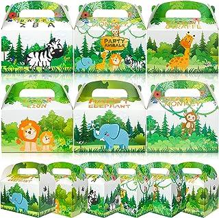 Qpout 12pcs Boîtes De Nourriture De Fête des Animaux, Boîtes À Lunch en Carton pour Enfants Fêtes d'anniversaire Jungle Pi...