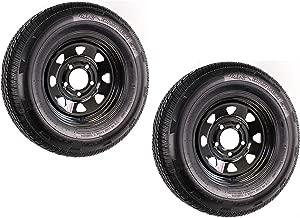 2-Pack Radial Trailer Tire Rim ST185/80R13 Load Range D 5-4.5 Black Spoke 3.19CB