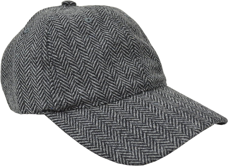 Brooks Brothers Men's Wool Blend Herringbone Striped Baseball Cap Hat Grey/Black (Small/Medium)
