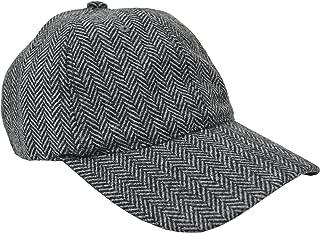 Men's Wool Blend Herringbone Striped Baseball Cap Hat Grey/Black (Large/X-Large)