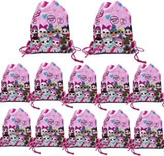 12 pcs L.O.L. Party Drawstring Backpack, Cute LOL Gift Favor Bags Birthday party Supplies for kids Children Girls Baby Shower