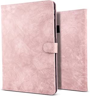 B BELK iPad Pro 10.5 Case, Vintage Luxury Leather Folio Flip Smart Protective Cover Case with Card Slots & Pencil Holder & Magnetic Wake/Sleep for Apple iPad Pro 10.5 Inch 2017 - Pink