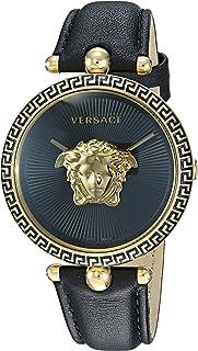 Women's Palazzo Empire Yellow Gold Swiss-Quartz Watch with Leather Calfskin Strap, Black, 16 (Model: VCO020017)